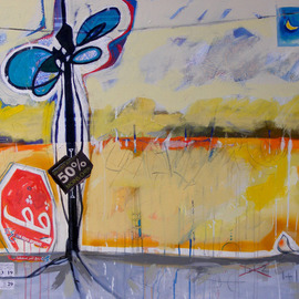 Mohammed Baba: 'Stop', 2012 Acrylic Painting, Abstract Figurative. Artist Description:  Stop urbanizing and the nature destruction    ...