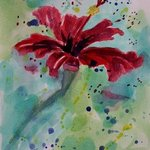 Red Flower On A Greeting Card, Diane Elgin