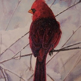 Judith Smith Wilson Artwork Cardinal in the Snow, 2006 Watercolor, Wildlife