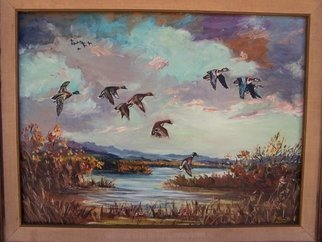 Judith Smith Wilson: 'Mallards in the Marsh', 1971 Oil Painting, Wildlife.  Wild Mallard Ducks landing on marsh.This is an Original Oil owned by the Curriden family of Seattle Washington and is not for sale. However we do have Open Edition Prints available.  $45. 00...