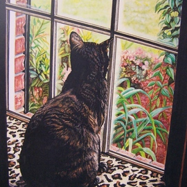 Judith Smith Wilson Artwork Portrait of Miss Kitty, 2007 Watercolor, Cats