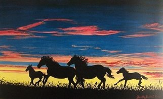 Judith Smith Wilson: 'Running Free', 2007 Watercolor, Southwestern. Artist Description:  Silhouette of Mustangs running at sunset. Original $550. 00.  Open Edition Prints Available $45. 00 ...