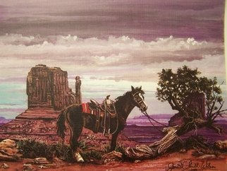 Judith Smith Wilson: 'Western Splendor', 1995 Watercolor, Western. Artist Description:  Saddled horse tied to Misquite tree with painted rock background. Open Edition Prints Only $45. 00  Original Sold...