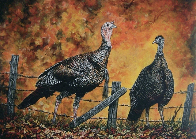 Judith Smith Wilson  'Wild Turkey Anyone', created in 2007, Original Pastel.
