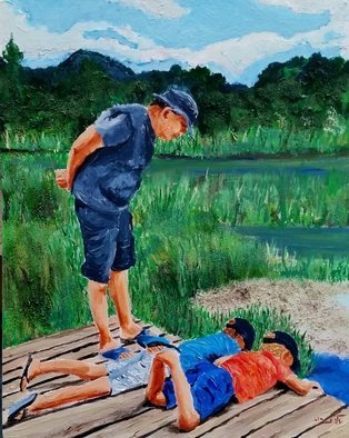 Eli Gross: 'fish research', 2017 Acrylic Painting, People. Artist Description: landscape, children, nature...