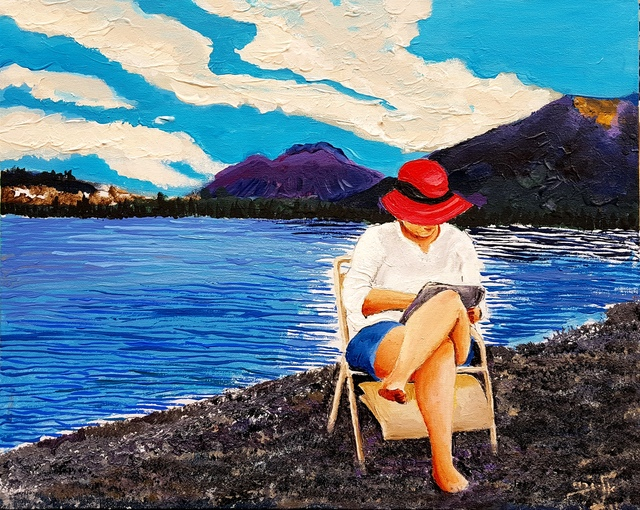 Eli Gross  'Lady In The Red Hat', created in 2017, Original Painting Acrylic.