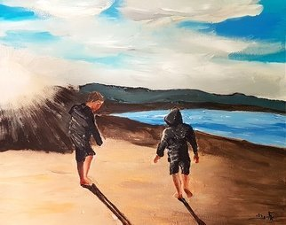 Eli Gross Artwork low tide pulls out to sea, 2017 Acrylic Painting, People