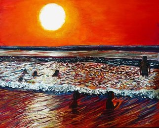 Eli Gross: 'sunset', 2018 Acrylic Painting, Beach. Artist Description: Summer sunset at Netanya beach...