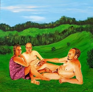 Eli Gross Artwork the luncheon on the grass, 2017 Acrylic Painting, People