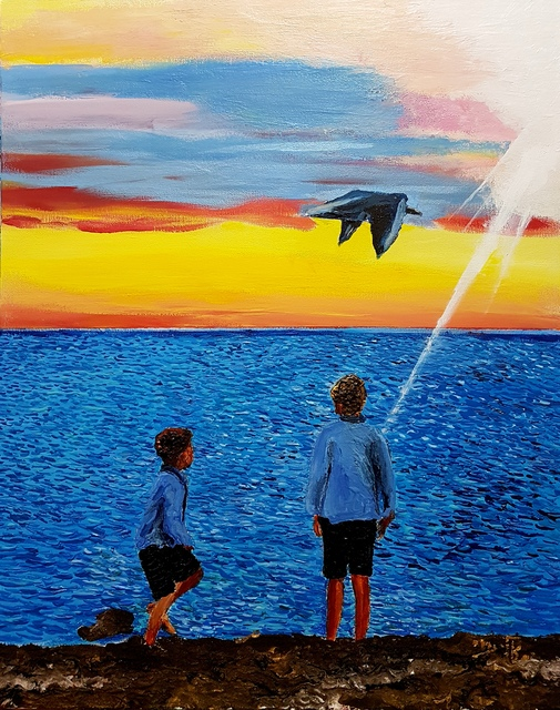 Eli Gross  'Watching A Seagull Floating', created in 2017, Original Painting Acrylic.