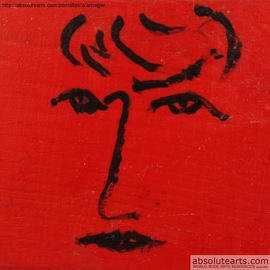 Roger Cummiskey: 'Lady on Red  SOLD', 2013 Oil Painting, Education. Artist Description: Based on an abstract face. ...