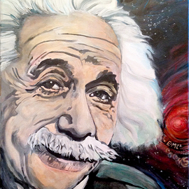 Sue Conditt: 'Albert Einstein', 2015 Acrylic Painting, Cosmic. Artist Description:  Einstein, theory of relativity, e=mc2, starfield ...