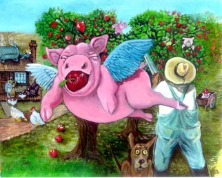 Sue Conditt Artwork Flying Pigs in My Orchard, 2014 Acrylic Painting, Animals