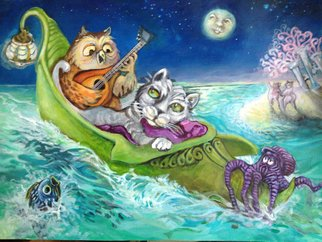 Sue Conditt Artwork The Owl And The Pussycat Went to Sea, 2014 Acrylic Painting, Animals