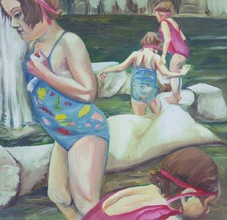 Stephanie  Cain: 'at the water fall', 2016 Oil Painting, Impressionism. Artist Description: twins fishing in upstate new york...