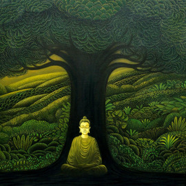 Manoj Kp: 'greenbuddha', 2018 Oil Painting, Mystical.