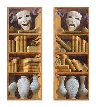Artist: Konstantinov Sergey - Title: Bookshelves - Medium: Oil Painting - Year: 2014