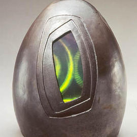 Karen Brown: 'Faceted Biovoid', 2003 Ceramic Sculpture, Technology. Artist Description: Raku ceramic and holography sculpture...