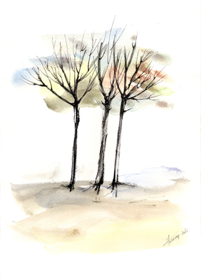 Aniko Hencz Artwork autumn trees3, 2016 Watercolor, Abstract Landscape