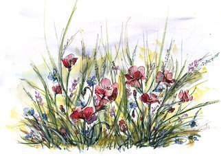 Aniko Hencz: 'longing for summer', 2018 Watercolor, Fauna. Artist Description: Original watercolor painting of poppies and summer flowers . It was created in 2018 on 240gr artistic paper with watercolor and ink. Please note, painting is being sold unframed - framed photos are only for illustration purposes. The colors may slightly differ depending on your monitor settings.Please feel free ...
