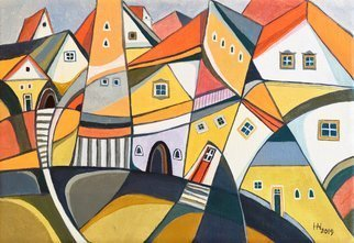 Aniko Hencz: 'the placid town', 2019 Oil Painting, Abstract. Artist Description: Original abstract cityscape with houses of a peaceful town.  The artwork is made with oil painting on canvas.  The painting is signed in front+backand accompanied with a certificate of authenticity signed by me.  It is varnished in order to give it a nice surface which protects it ...