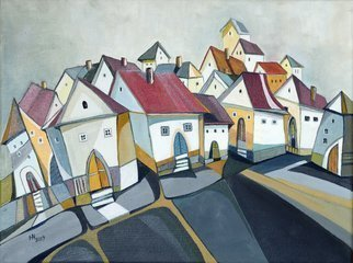 Aniko Hencz: 'the placid town', 2019 Painting, Cityscape. Artist Description: Original abstract cityscape with houses of a peaceful town. The artwork is made with oil painting on canvas. The painting is signed in front  +back  and accompanied with a certificate of authenticity signed by me. It is varnished in order to give it a nice surface which protects ...