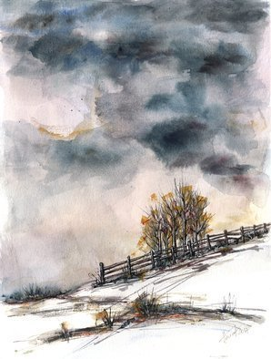 Aniko Hencz: 'winter is here', 2017 Watercolor, Landscape. Original abstract winter scene watercolor and ink painting. It was created in 2017 on 300gr Canson paper with watercolor and ink. Please note, painting is being sold unframed - framed photos are only for illustration purposes. The colors may slightly differ depending on your monitor settings. winter, landscape, trees, sky, watercolor ...