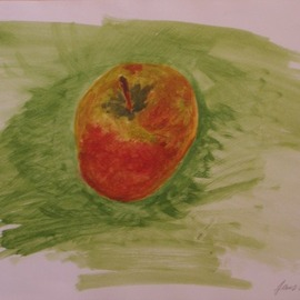 Jens Ehmann: 'Apfel faellt in Wiese', 2017 Acrylic Painting, Naturalism. Artist Description: I wanted to paint a picture with an apple in 2017.The title of this isApfel fA$?llt in Wiese...