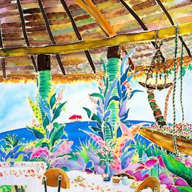 Hisayo Ohta: 'Afternoon tea break', 1998 Other Painting, Travel. Artist Description:  Painting on silk.Moorea, Tahiti                                                               ...