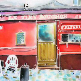 Hisayo Ohta: 'Creperie', 2003 Other Painting, Travel. Artist Description:  Painting on silk.Montmartre, paris, france                                                   ...