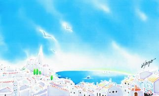 Hisayo Ohta: 'Mediterranean summer', 2013 Other Painting, Travel. Artist Description:   Cadaques, Spain                                                                     ...