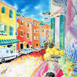Hisayo Ohta: 'Ville lumineuse', 2001 Other Painting, Travel. Artist Description:  Painting on silk.Ramatuelle, France                                                             ...