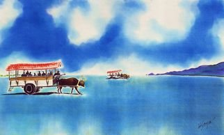 Hisayo Ohta Artwork Yubu island water buffalo taxi, 2013 Other Painting, Travel