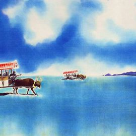 Hisayo Ohta: 'Yubu island water buffalo taxi', 2013 Other Painting, Travel. Artist Description:  Okinawa, Japan                                                                   ...