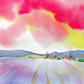 Hisayo Ohta: ' Sunset on the lavender farm', 2012 Other Painting, Travel. Artist Description:   Painting on silk.Provence, France                                                                  ...
