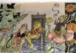 Rhoda Taylor: 'Morning  Meeting', 2012 Illustration, Fantasy.            Detailed illustration work.Frogs and FunWorked with pen/ watercolourOriginal - [ until I get printed! ]     ...
