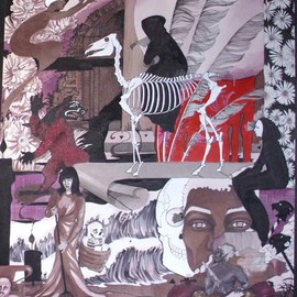 Rhoda Taylor: 'chaos', 2011 Ink Painting, Figurative. Artist Description:         Rhoda Taylor - Pen and Ink Gouache Artwork on artist board.        ...