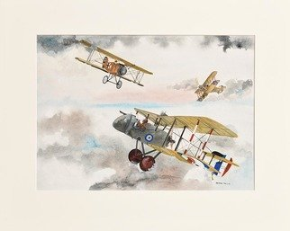 Rhoda Taylor: 'world war one fighter planes', 2019 Giclee - Open Edition, Airplanes. WW1 Fighting Planes, De Havalland DH2 AlbertrosD11. Bristol F2 within sky. ...