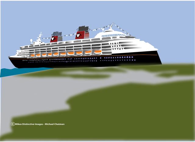 Michael Chatman Artwork Disney Cruise Ship Original Digital Art - Cruise ship drawings