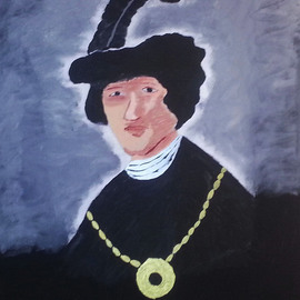 Michael Chatman: 'Young Man with Plumed Hat', 2013 Acrylic Painting, Portrait. Artist Description:          An acrylic painting replica of a famous Rembrandt painting. ...