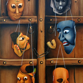 Abbas Batliwala: 'Multi Faced Mask', 2014 Oil Painting, Abstract Figurative.