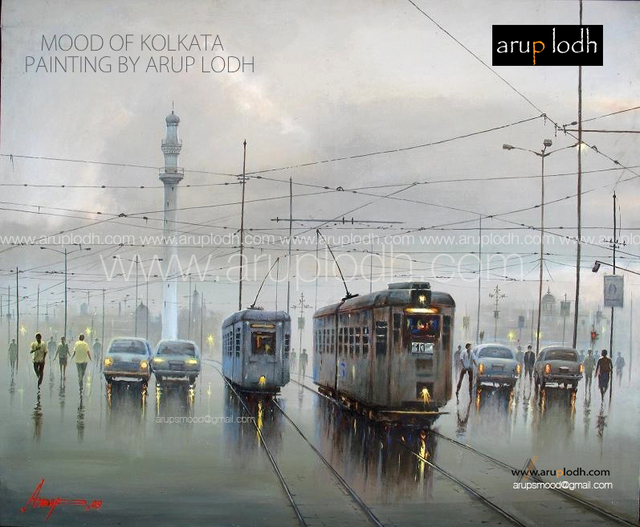 Arup Lodh  'A Cloudy Day In Kolkata', created in 2007, Original Painting Acrylic.