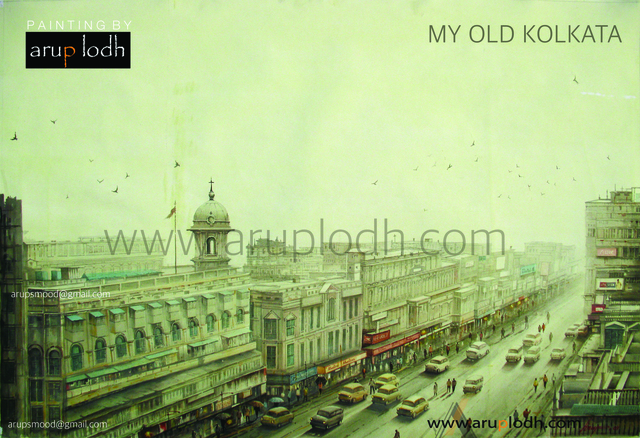 Arup Lodh  'Old Kolkata', created in 2009, Original Painting Acrylic.