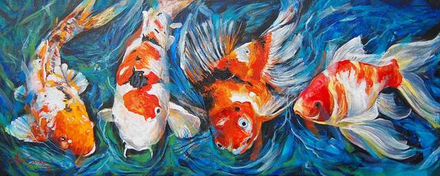 Anju Saran  'Gold And Koi 2', created in 2018, Original Painting Acrylic.