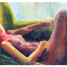 Ashley Hancock: 'Reclining Nude ', 1998 Oil Painting, nudes. Artist Description: oil on canvas...
