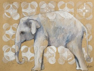 Ashley Jacobsen: 'Elephant  ', 2012 Illustration, Animals.  Print of an original drawing.The image is approximately 5