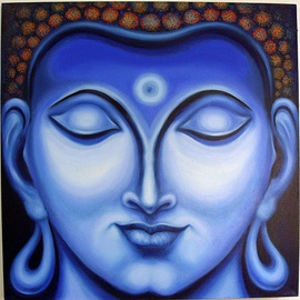 Ashok Revankar: 'Gautam Buddha face I', 2016 Oil Painting, Portrait. Artist Description:  Gautam Buddha face I, is in meditation Indian saint preached and given message all over wolrd, love peace harmony and uneversal brotherhood. ...