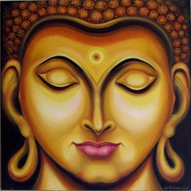 Ashok Revankar Artwork Gautam Buddhas Face, 2016 Oil Painting, Portrait