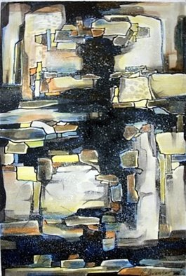 Ashok Revankar Artwork Ruins, 2008 Watercolor, Abstract Landscape