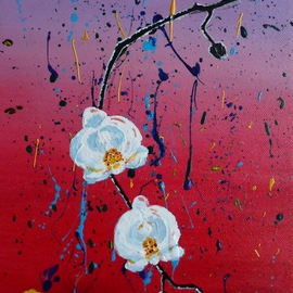 Eliza Donovan: 'Japanese Orchids', 2013 Acrylic Painting, Floral. Artist Description: Expressionist orchids in Japanese style. orchids, flowers, expressionist flowers, japanese, asian, blossom, floral...